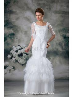 Net and Lace Square Neckline Floor Length Mermaid Half-Sleeves Wedding Dress