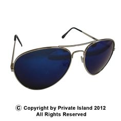 Private Island Party  - Silver Frame and Blue Lens Aviator Sunglasses 1107, $1.70- $2.99   These sunglasses are perfect for outdoor enthusiasts. The blue tint is sure to keep the sun's harmful rays out, while giving its user enough visibility to do what needs to get done.