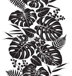 Seamless line vertical pattern made with tropical plants silhouette. Black and white floral texture with leaves in row. Leaf Silhouette, Silhouette Vector, Black Silhouette, Black And White Leaves, White Leaf, Tropical Leaves, Tropical Plants, Pop Art Wallpaper, Poppy Pattern