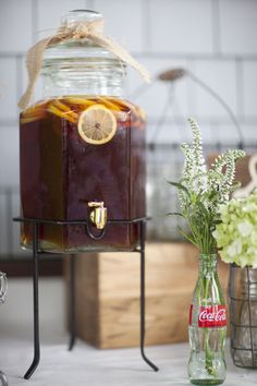 Sweet Tea- Love this idea, I have a dispenser like this too, going to try it!