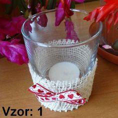 Svietnik sklenený s mašľou - Sviečka - S čajovou sviečkou (plus 0,10€), Vzor - Vzor 1