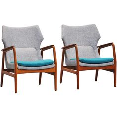 Pair Bovenkamp Wingback Chairs With New Upholstery 1960 | From a unique collection of antique and modern lounge chairs at http://www.1stdibs.com/furniture/seating/lounge-chairs/