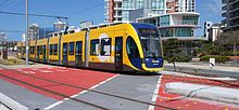 G:link (Gold Coast Light Rail) in Queensland, Australia -- operates between Gold Coast University Hospital and Broadbeach. These Flexity Swift 2 light rail trains were built by Bombardier Transportation, and began operation in July 2014. #train #lightrail #glink #goldcoast #queensland #australia #bombardier #flexityswift