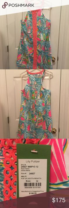 NWT Size 12 Lilly Pulitzer Shift YGR Print! Beautiful and coveted print, size 12 Sasha shift in You Gotta Regatta pop up, NWT. No lowball offers, they will be ignored, I know exactly what this dress is worth! Will sell on 🅿️🅿️ for less! Lilly Pulitzer Dresses