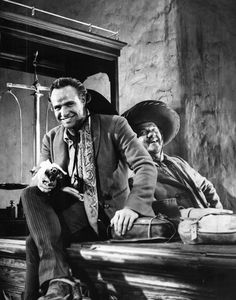 Marlon Brando and Karl Malden during the filming of One-Eyed Jacks, 1960.