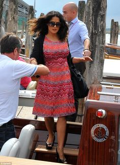 Salma Hayek wearing a dress from the Missoni Resort 2013 collection at the Venice Film Festival.