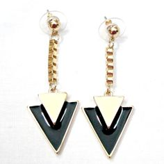 Geometric Black & Yellow Triangle Drop by SunKissedCollections, $5.99