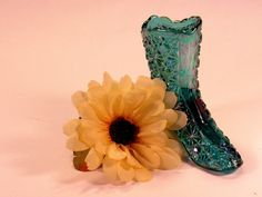 Vintage Fenton Teal Carnival Glass  Daisy and  Button Glass  Boot.  The Boot is…