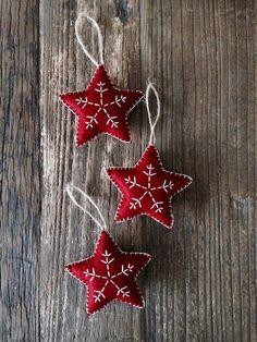3x Dark Red Nordic Scandi Style Christmas Star Decorations | Etsy Nordic Christmas Decorations, Homemade Xmas Decorations, Felt Christmas Ornaments, Handmade Decorations, Homemade Christmas, Christmas Diy, Scandi Style, Dark Red, Christmas Crafts