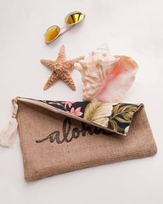Items similar to Pink Aloha Zipper Pouch Burlap / Tropical Floral / Oversized Travel Case on Etsy