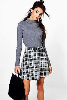 Perrie Monochrome Check Skater Skirt