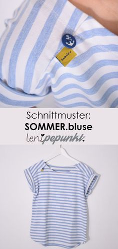 bluse Papierschnittmuster The SOMMER.bluse is a quick-sewed blouse in a casual style: The shoulder seam is slightly offset to the Sewing Patterns Free, Free Sewing, Pattern Sewing, Sewing Hacks, Sewing Tutorials, Sewing Tips, Diy Mode, E Book, Leftover Fabric