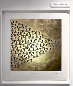 'Golden Geese' by artist Kelvin Mann, Intaglio with carat gold leaf. Sheet size 61 (h) cm x Carat Gold, Gold Leaf, Animal Print Rug, Fine Art Prints, Leaves, Artist, Art Prints, Artists