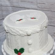Sweater Weather - cake by Nancy Travis Wheaton's Fancy Cakes Fancy Cakes, Cute Cakes, Sewing Cake, Toffee Cake, Christmas Cake Designs, Cupcake Pictures, Christmas Cushions, Cake Business, Gift Cake