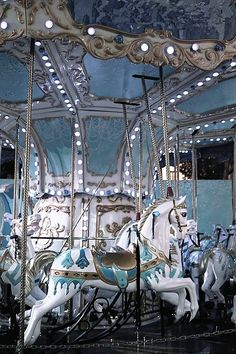 Round and round like a horse on the carrousel, we go . Chasing after you is like a fairytale. Light Blue Aesthetic, Blue Aesthetic Pastel, Aesthetic Colors, Aesthetic Pictures, Carosel Horse, Tableaux Vivants, Image Deco, Amusement Park Rides, Carnival Rides