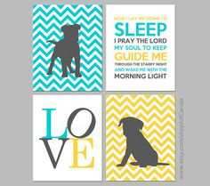 ► ► ► Many custom options - colors/patterns/other ◄ ◄ ◄ This modern print set with FOUR prints shows two dog prints, a love word graphic and the