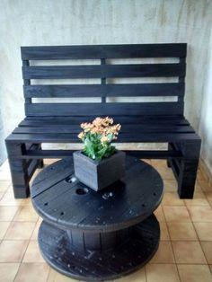 Banco de palete e mesa de carretel
