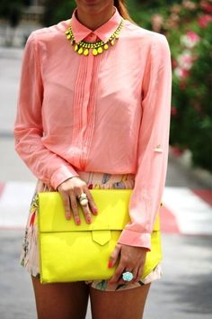 yellow & pink combination.. You likeee??!-Click For  neon  #neon ☮k☮