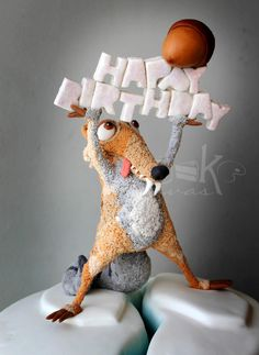 Scrat catches his acorn at last for Baby Norah. :) - cake by Anna Mathew Vadayatt Birthday Cake For Him, Girl Birthday, Ice Age Cake, Fondant Figures, Cake Fondant, Sculpted Cakes, Character Cakes, Novelty Cakes, Cakes For Boys