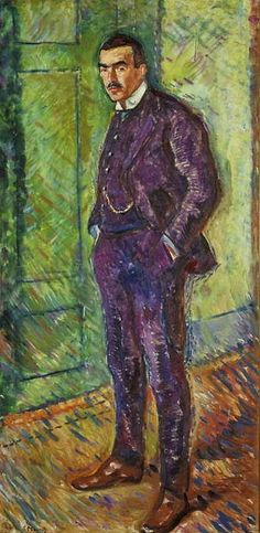 "Portrait of Jappe Nilssen, 1909 by Edvard Munch (Norwegian 1863–1944)..... Nilssen (1870-1931 ) was a Norwegian writer and art critic, who published two novels and numerous short stories, but is mainly known for his art criticism in ""Dagbladet""....."