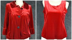 Choices 2 piece red velour combo tank ruffled sleeve shirt jacket S small Velour Tops, Shirt Jacket, Ruffle Sleeve, Blouses For Women, Choices, Lady, Clothing, Jackets, Shirts