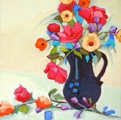 """""""Flower Arranging,"""" painting by Carolee Clark"""