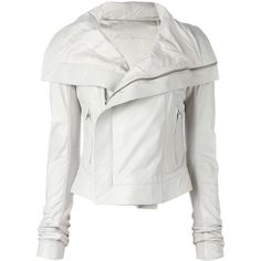 Rick Owens Classic Biker Leather Jacket (£1,210) ❤ liked on Polyvore featuring outerwear, jackets, white, white biker jackets, leather biker jackets, oversized collar jacket, rick owens and biker jackets