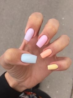 Colored nails are fashion: one of each color, will you join this fashion? - Colored nails are fashion: one of each color, will you join this fashion? – Colored nails are fas - Simple Acrylic Nails, Summer Acrylic Nails, Best Acrylic Nails, Acrylic Nail Designs, Summer Nails, Simple Nails, Spring Nails, Acrylic Nails Pastel, Winter Nails