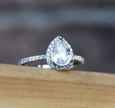0.96ct White sapphire pear diamond ring 14k white by EidelPrecious