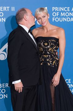Princess Charlene of Monaco shared a tender moment on the red carpet with husband Prince Albert II of Monaco as they led the glamorous arrivals at the 'Monte-Carlo Gala For The Global Ocean' event on September 28, 2017