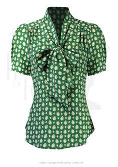 40s Pussy Bow Blouse - Emerald Deco Dot Vintage Style Dresses, Vintage Wear, Blouse Vintage, Vintage Outfits, Vintage Clothing, 1940s Fashion Women, Vintage Fashion, Vintage Beauty, Dance Fashion