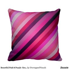 Beautiful Pink & Purple  Gradient Striped Pattern Throw Pillow