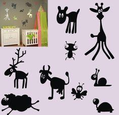 dieren set - Dewiha Art - Muursjablonen en Muurstickers