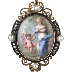 Signed French Enamel Miniature of Venus & Cupid Set in 18K from parkavenueantiques on Ruby Lane