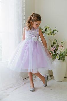 White/Lilac+Sleeveless+Poly-Cotton+Lace+Top+Flower+Girl+Dress++KC-D1245-WL+on+www.GirlsDressLine.Com