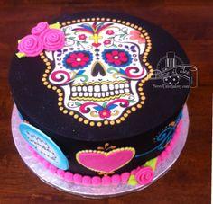 Sugar Skull birthday cake. Halloween Desserts, Halloween Cakes, Holiday Desserts, Birthday Cake Decorating, Cake Decorating Tips, Sugar Skull Cakes, Day Of The Dead Cake, 50th Cake, Animal Cakes
