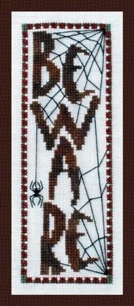 """Beware"" Counted Cross Stitch design for Halloween by Turquoise Graphics &…"