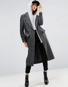 Coat in Boyfriend Fit and Mono Textured Fabric by ASOS. Coat by ASOS Collection, Wool-mix textured woven fabric, Notch lapels, Press-stud fastening, Pockets may be tacked, R...