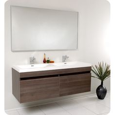 "Fresca Senza 57"" Double Largo Modern Bathroom Vanity Set with Mirror 