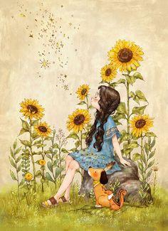 Forest Girl ~ By Aeppol Creation Photo, Forest Girl, Illustration Girl, Sunflower Illustration, Whimsical Art, Anime Art Girl, Cartoon Art, Cute Drawings, Cute Art