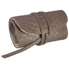 Jewelry roll, calfskin embossed python, taupe | desiary.de - identity store