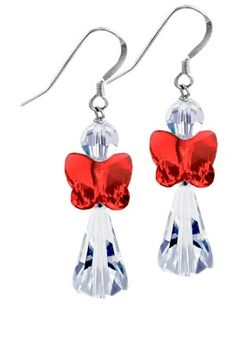 Light Siam Angel Earrings -  made with Swarovski Crystals and .925 Sterling Silver