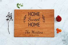 Home Sweet Home Engraved Wood Cutting Board by WoodLuckEngraved