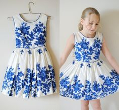 Vintage Girl 1950's Blue WATERCOLOR Flower Dress