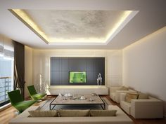 Living room with recessed ceiling containing recessed lighting