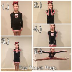 A tutorial of how to do a toe touch prep! stretch for cheer. A tutorial of how to do a toe touch prep! stretch for cheer. Cheerleading Flexibility, Cheer Flexibility, Cheerleading Tryouts, Cheerleading Cheers, Football Cheer, Cheer Coaches, Cheer Stunts, Cheer Dance, Cheer Moves