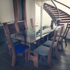 Dining set by Martin Byers ThankU.ca  Walnut and glass