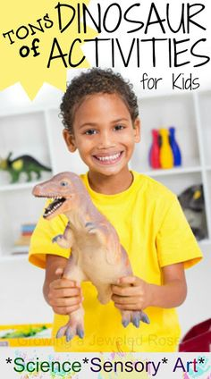 UNIT 8 Tons of Dinosaur Activities for Kids- crafts, small worlds, science experiments, magic hatching dinosaur eggs, and MORE! Dinosaurs Preschool, Dinosaur Activities, Dinosaur Crafts, Preschool Science, Sensory Activities, Craft Activities For Kids, Science For Kids, Preschool Activities, Dinosaur Eggs