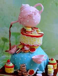 Topsy+turvy+tea+party+-+Cake+by+Prachi+DhabalDeb