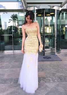 2017 Custom Made Gold Sequins Prom Dress,Sexy Sweetheart